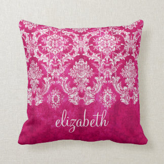 Hot Pink Grunge Damask Pattern Custom Text Throw Pillow