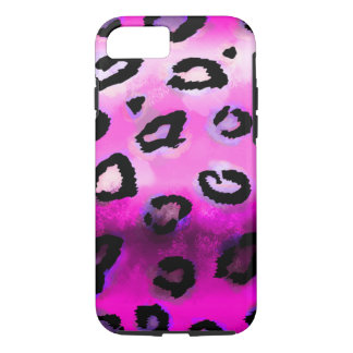 Hot Pink Grunge Leopard iPhone 7 Case