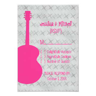 "Hot Pink Guitar Grunge Response Card 3.5"" X 5"" Invitation Card"