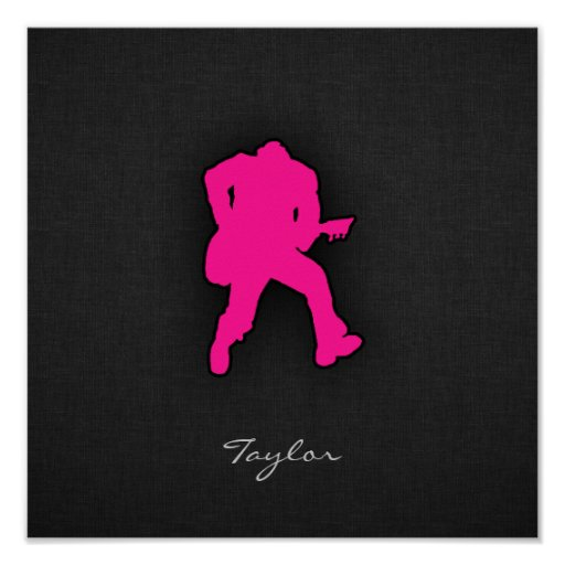Hot Pink Guitar Player Posters