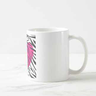 Hot Pink Heart and Zebra Stripes in Black and Whit Coffee Mugs