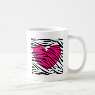 Hot Pink Heart and Zebra Stripes in Black and Whit Mug
