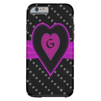 Hot Pink Heart & Ribbon, Diamonds Tough iPhone 6 Case
