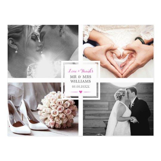 Hot Pink Heart Wedding Photo Collage Love &