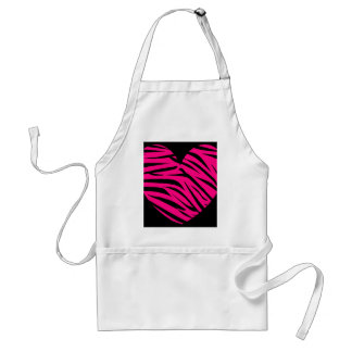 Hot Pink Heart Zebra Stripes on Black Aprons