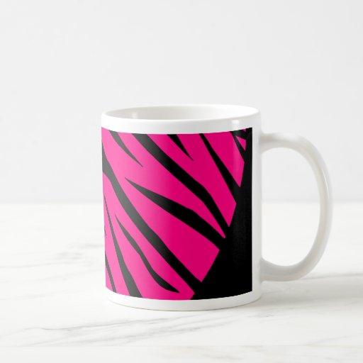 Hot Pink Heart Zebra Stripes on Black Coffee Mug