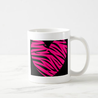 Hot Pink Heart Zebra Stripes on Black Mug