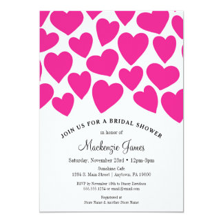 Hot Pink Hearts Bridal Shower Invitation Whimsical