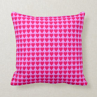 Hot Pink Hearts on Pink Cushion