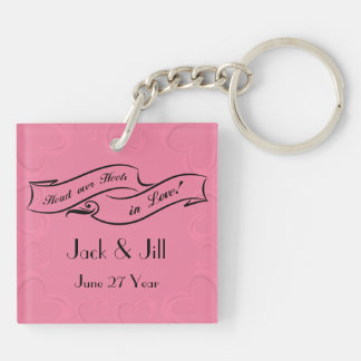 Hot Pink Hearts Top Hat and High Heels Double-Sided Square Acrylic Key Ring