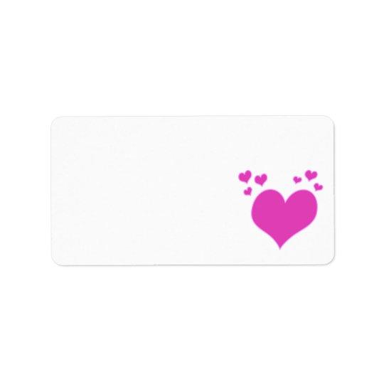 Hot Pink Hearts Valentine's Day Wedding etc Label