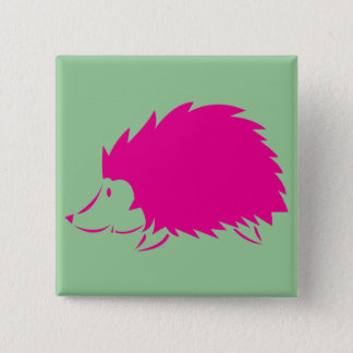 Hot Pink Hedgehog 15 Cm Square Badge