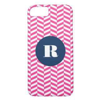 Hot Pink Herringbone Pattern Monogram iPhone 7 Case