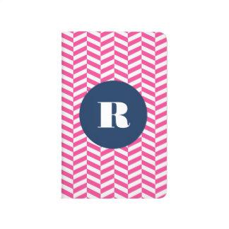 Hot Pink Herringbone Pattern Monogram Journal