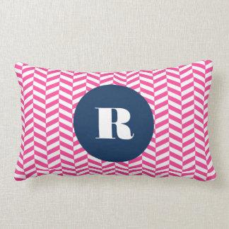 Hot Pink Herringbone Pattern Monogram Lumbar Cushion