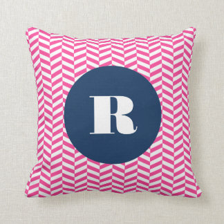 Hot Pink Herringbone Pattern Monogram Pillow