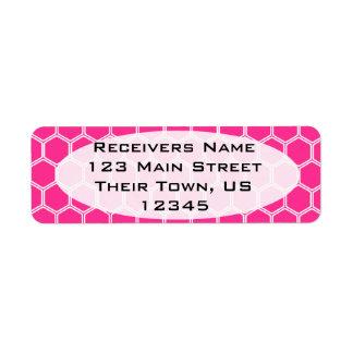 Hot Pink Hexagon 1 Return Address Label