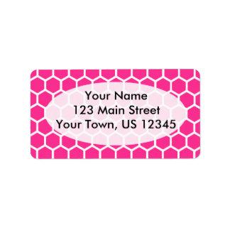 Hot Pink Hexagon 2 Address Label