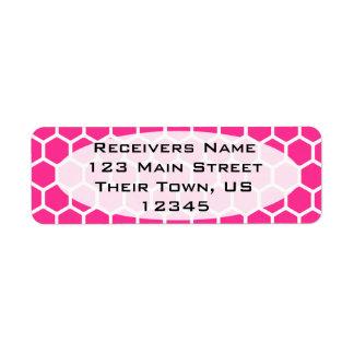 Hot Pink Hexagon 2 Return Address Label