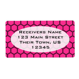 Hot pink Hexagon 3 Shipping Label