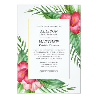 Hot Pink Hibiscus Watercolor Tropical Wedding Card