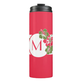 Hot Pink Hibiscus with Monogram and Lime Green Thermal Tumbler