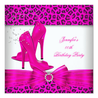 Hot Pink High Heel Shoe Leopard Birthday Party 13 Cm X 13 Cm Square Invitation Card