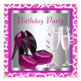 Hot Pink High Heel Shoes Womans Leopard Birthday 13 Cm X 13 Cm Square Invitation Card