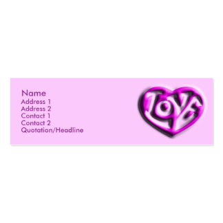 Hot Pink Hippie Love Heart Pack Of Skinny Business Cards