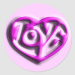 Hot Pink Hippie Love Heart Round Sticker