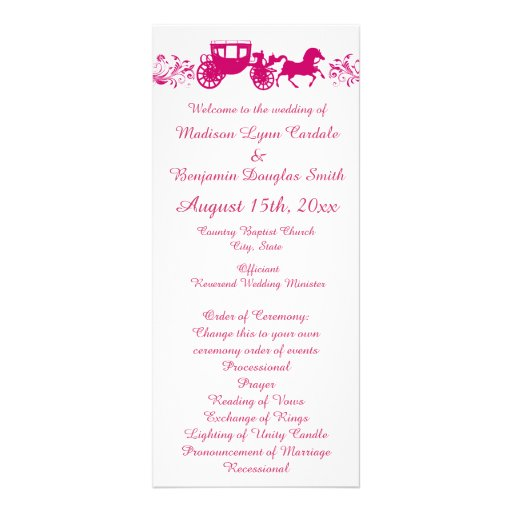 Hot Pink Horse and Carriage Wedding Programs Rack Card Template