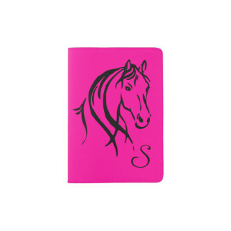 Hot Pink Horse Initialized Passport Holder