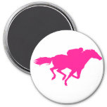 Hot Pink Horse Racing; Race Horse 7.5 Cm Round Magnet