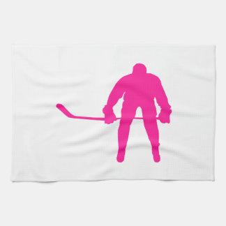 Hot Pink Ice Hockey Tea Towel