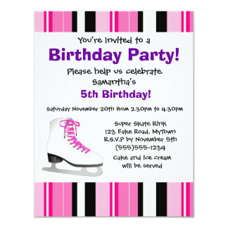 Hot Pink Ice Skating Birthday Party - Pink Stripe Card