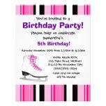 Hot Pink Ice Skating Birthday Party - Pink Stripe Invites