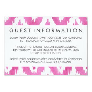 Hot Pink Ikat Guest Information 9 Cm X 13 Cm Invitation Card