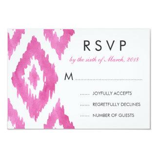 Hot Pink Ikat RSVP 9 Cm X 13 Cm Invitation Card