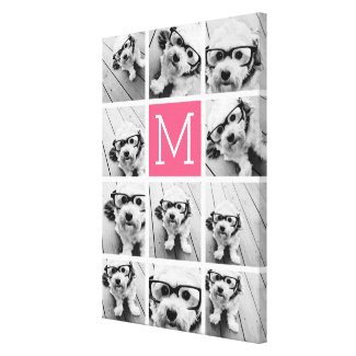 Hot Pink Instagram Photo Collage Custom Monogram Canvas Print