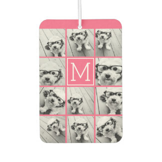 Hot Pink Instagram Photo Collage Custom Monogram Car Air Freshener