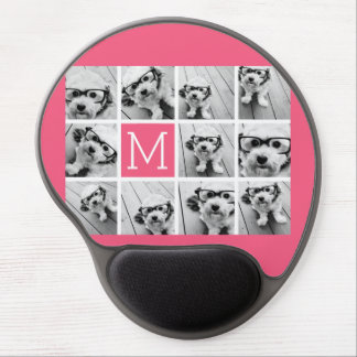 Hot Pink Instagram Photo Collage Custom Monogram Gel Mouse Mat