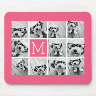 Hot Pink Instagram Photo Collage Custom Monogram Mouse Mat