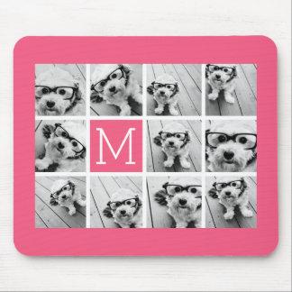 Hot Pink Instagram Photo Collage Custom Monogram Mousepad