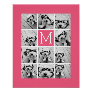 Hot Pink Instagram Photo Collage Custom Monogram Poster