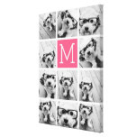 Hot Pink Instagram Photo Collage Custom Monogram Stretched Canvas Prints