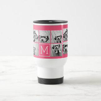 Hot Pink Instagram Photo Collage Custom Monogram Travel Mug