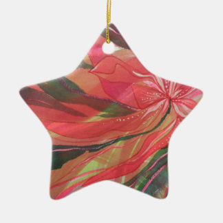Hot pink jungle flower with trailing foliage ceramic star decoration