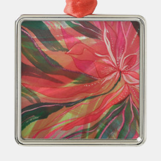 Hot pink jungle flower with trailing foliage Silver-Colored square decoration