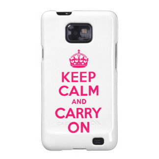 Hot Pink Keep Calm and Carry On Galaxy S2 Cover