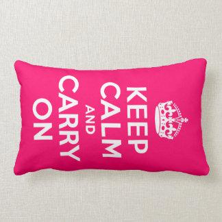 Hot Pink Keep Calm and Carry On Lumbar Cushion